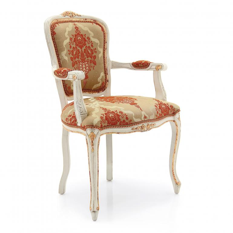 classic padded small armchair made of wood