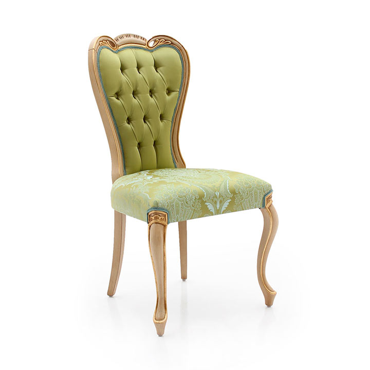 Classic chair Angelo by Sevensedie the perfect hotel chair - beech wood frame - Upholstery in green silk effect fabric with floral pattern.