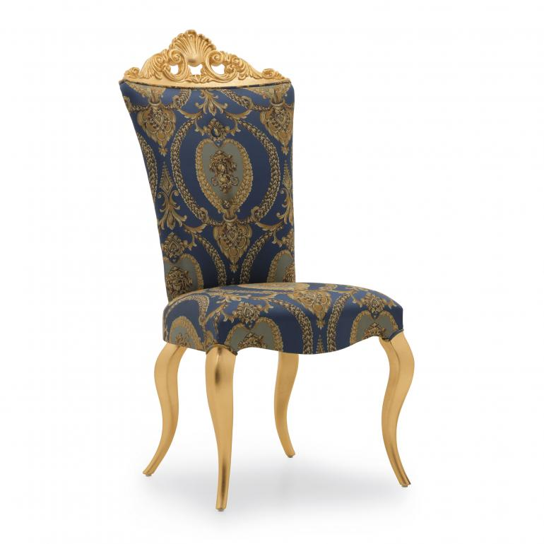 Classic chair Siatena by Sevensedie with beech wood frame, gilded wood frame-  upholstered with an exclusive blue damask fabric