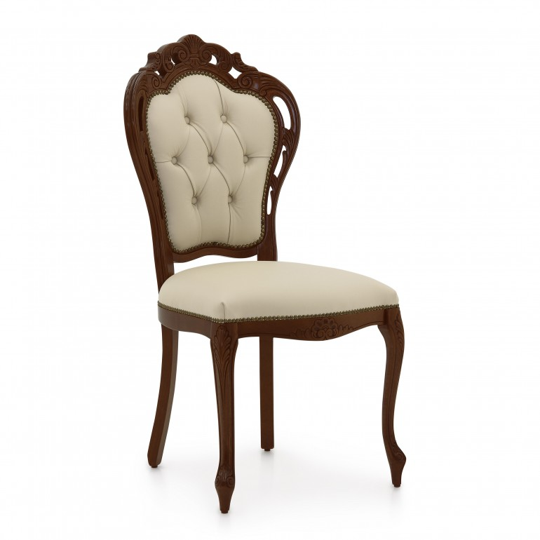 leather upholstered wooden chair