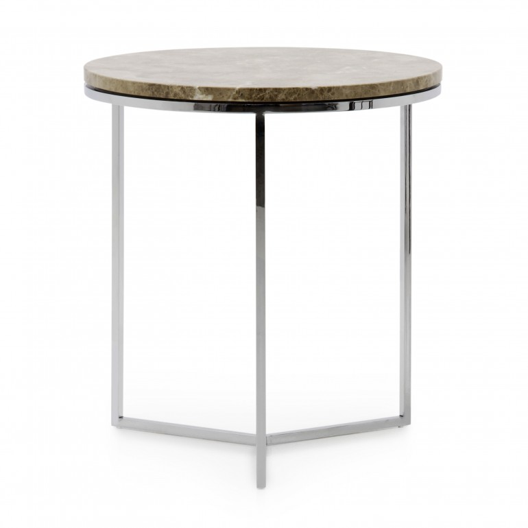 Round marble top lamp table with chromed metal base, modern and contemporary Italian design, light Emperador marble top
