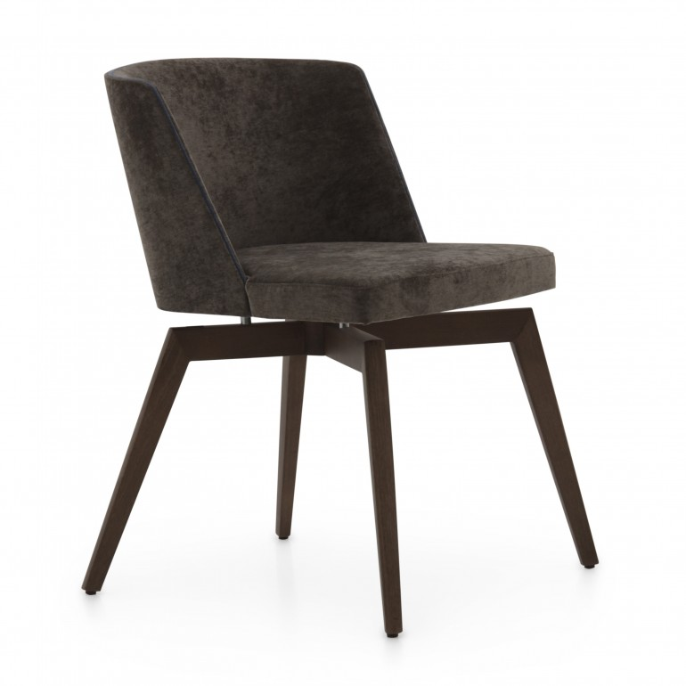 Contemporary dining chair Marta by Sevensedie -  with beech wood frame, upholstered and polished