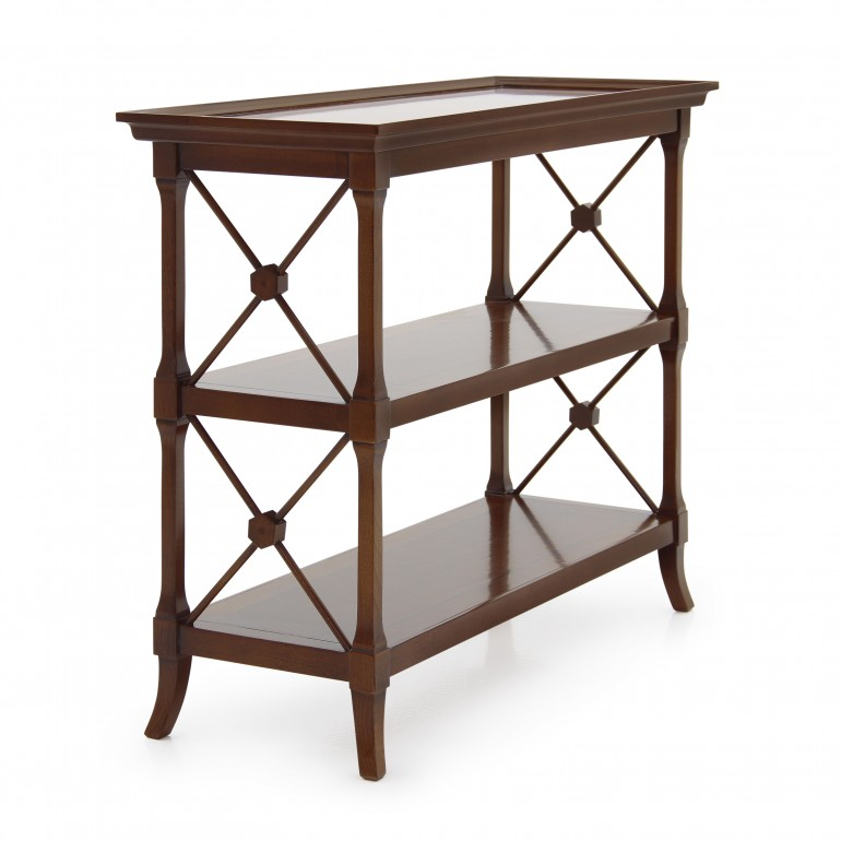 classic style wooden shelf unit
