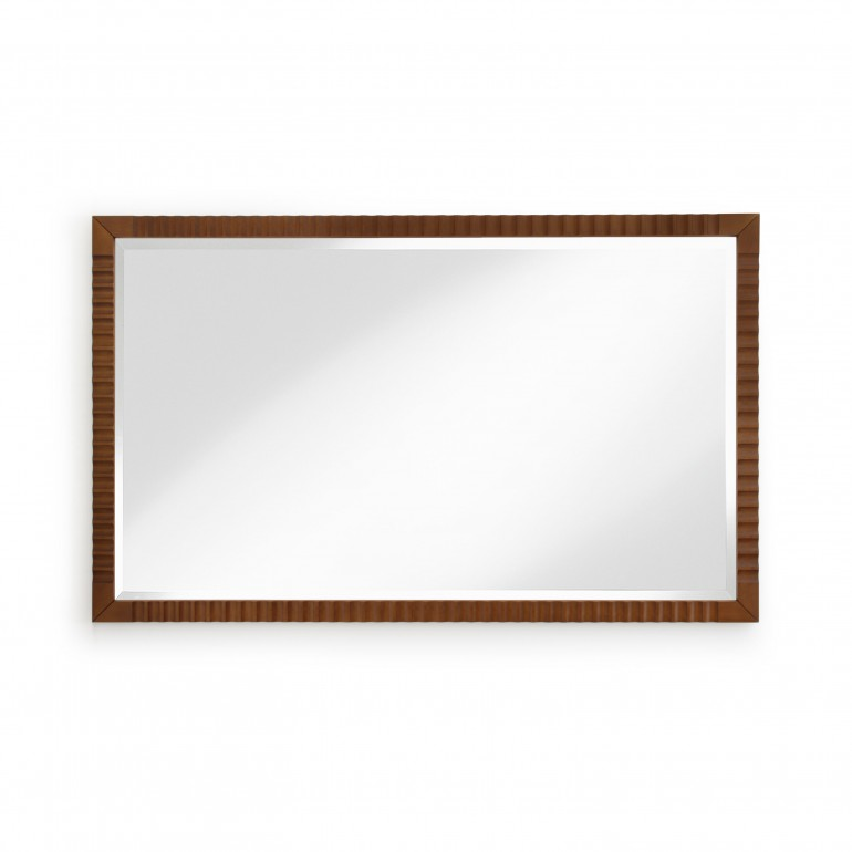 Italian contemporary mirror. Large rectangular mirror, bevelled edge mirror with cherry wood frame