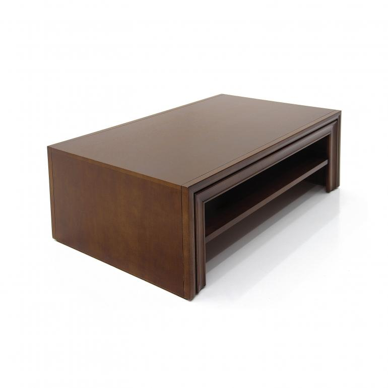 modern style low rectangular table made of wood