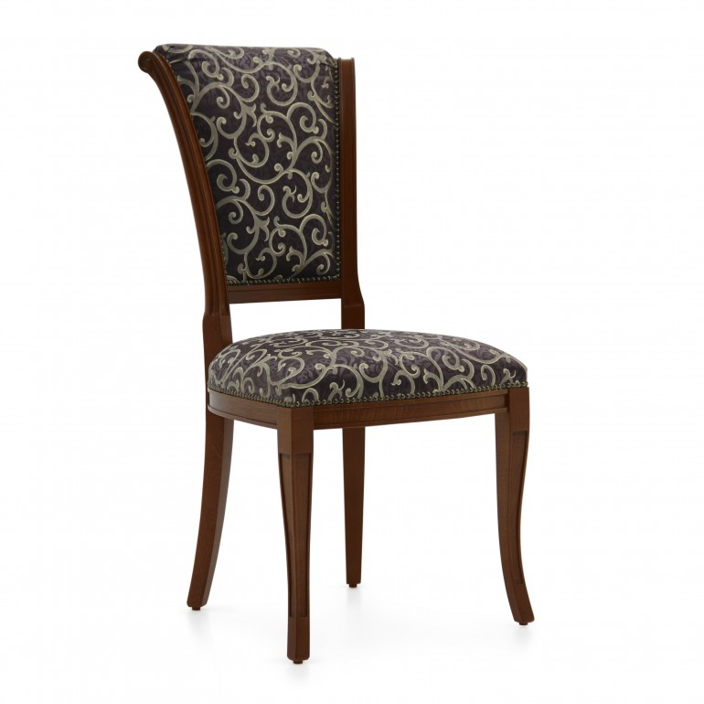 Classic italian chair Verona by Sevensedie - beech wood frame - lacquered in dark walnut finish -  upholstered with an abstract design blue silky fabric