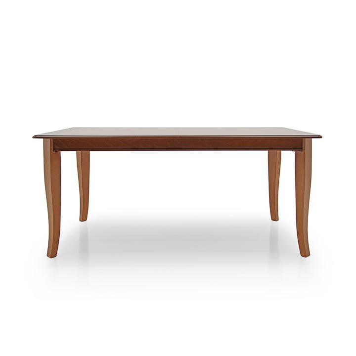 Simple rectangular table. Beech wood structure. Light walnut polished finish.