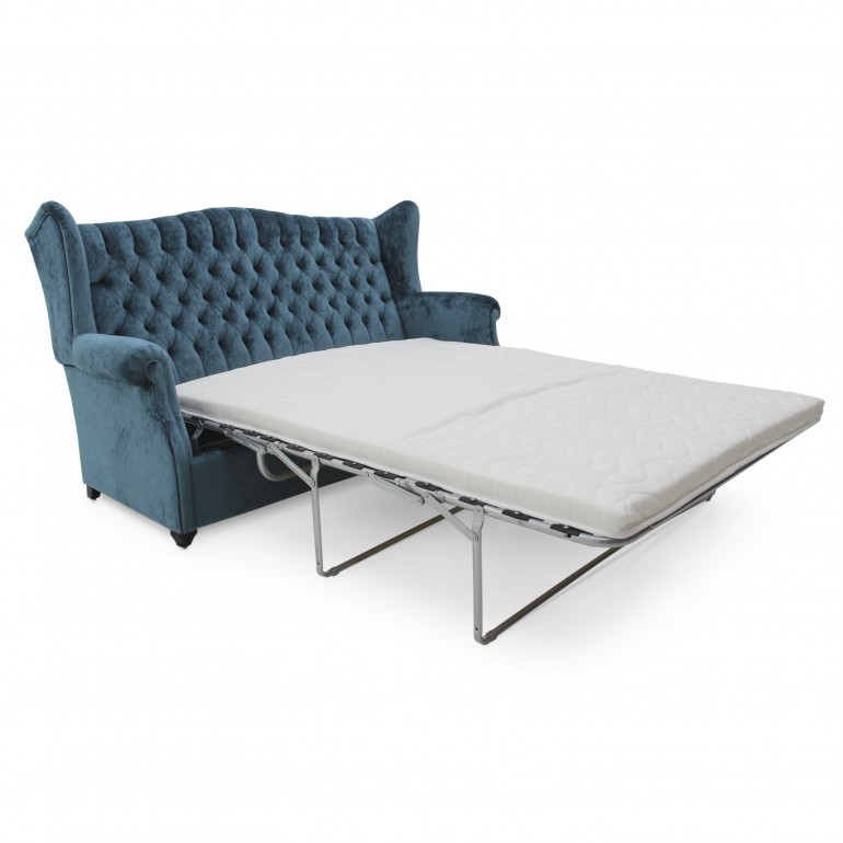 Italian sleeper couch, convertible sofa bed, blue sofa bed in classic style, with revolving bed mechanism