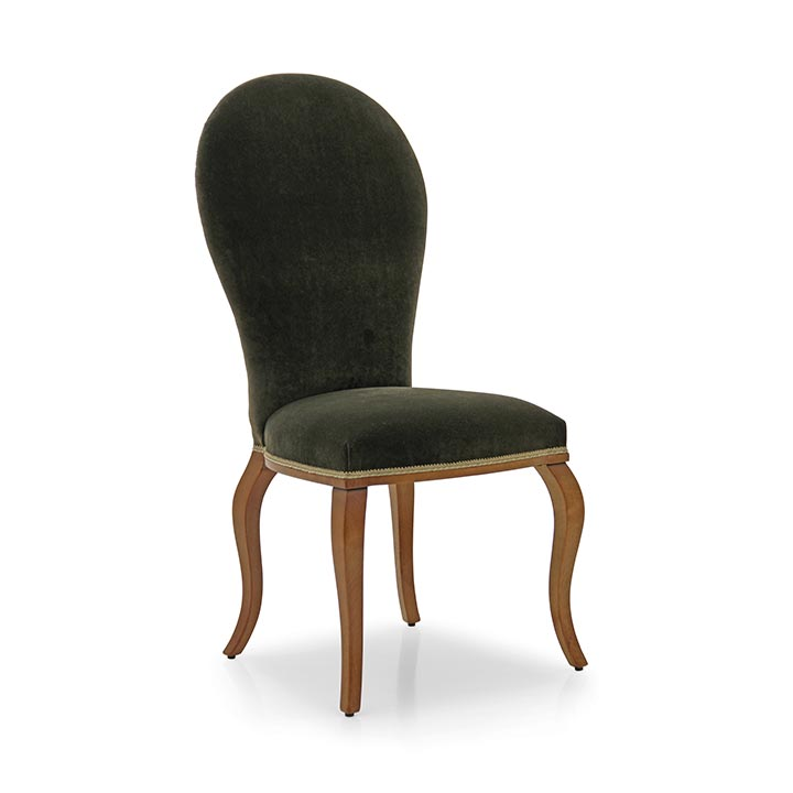 Comfortable modern style beech wood chair with smooth frame; upholstered in plain modern fabric. Innovative satin black finish.
