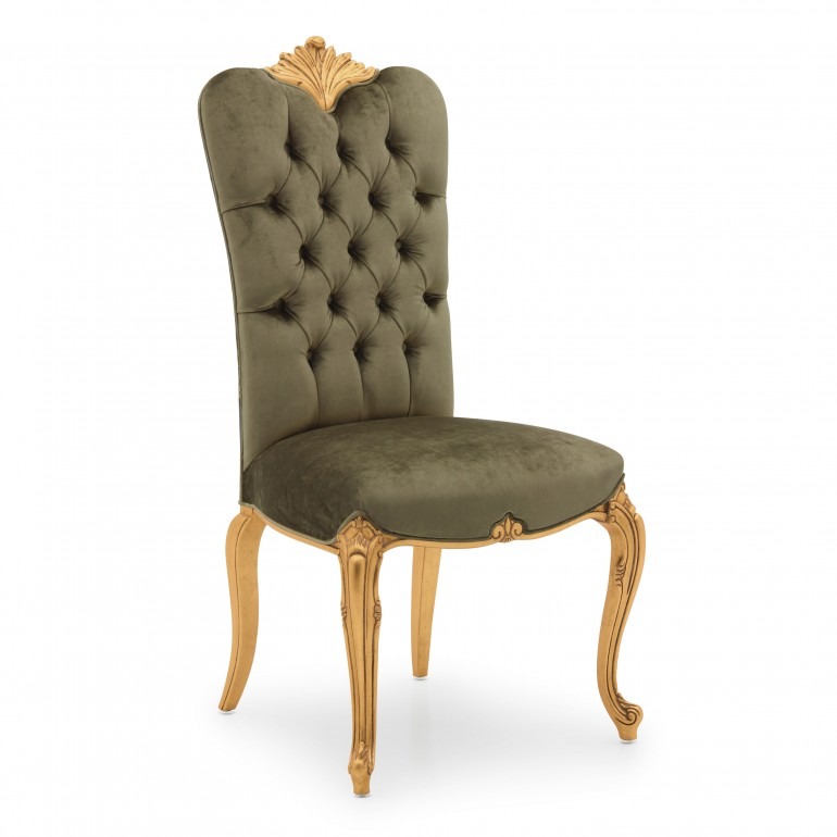 Classic chair Bronte by Sevensedie with beech wood frame, gilded wood frame-  upholstered