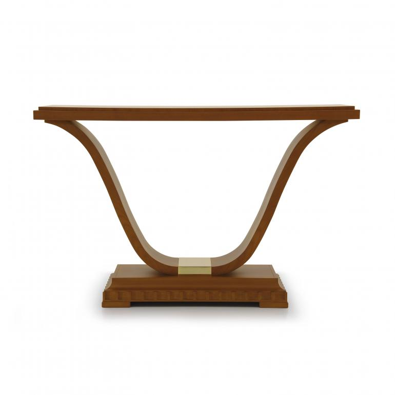 Italian contemporary console table.Cherry wood console with gold plated metal insert