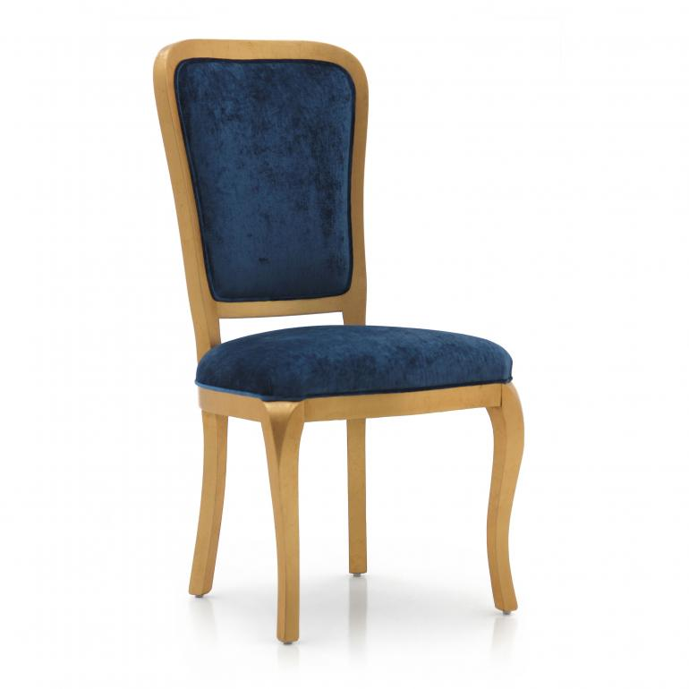 Contemporary italian dining chair Cavour by Sevensedie - beech wood structure - padded back - lacquered in a gold finish - upholstered in a soft petrol blue velvet