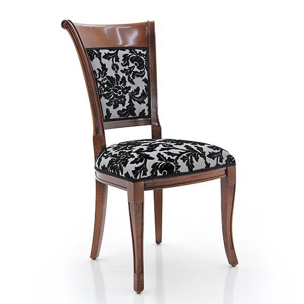 Comfortable classic style chair with beech wood structure; upholstered in elegant fabric. Dark Bassano finishing.