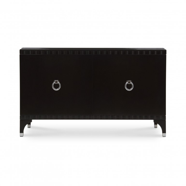 Italian 2 doors sideboard - Contemporary sideboard in dark mahogany finish - 2 door sideboard with chromed metal handles