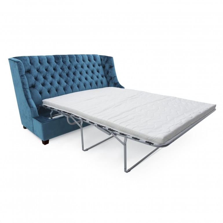 Italian sofa bed with tufted back,blue,3 seater, sleeper couch, with pull out mattress, double bed