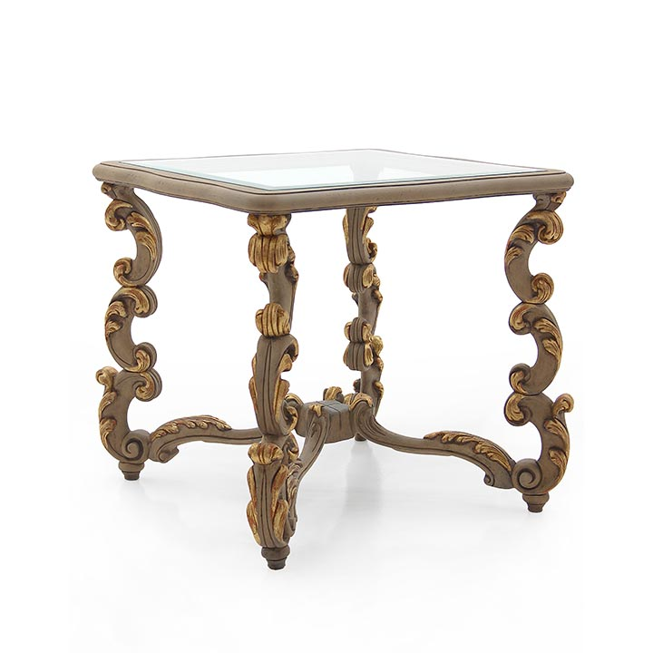 619 baroque style square wood gold table firenze1