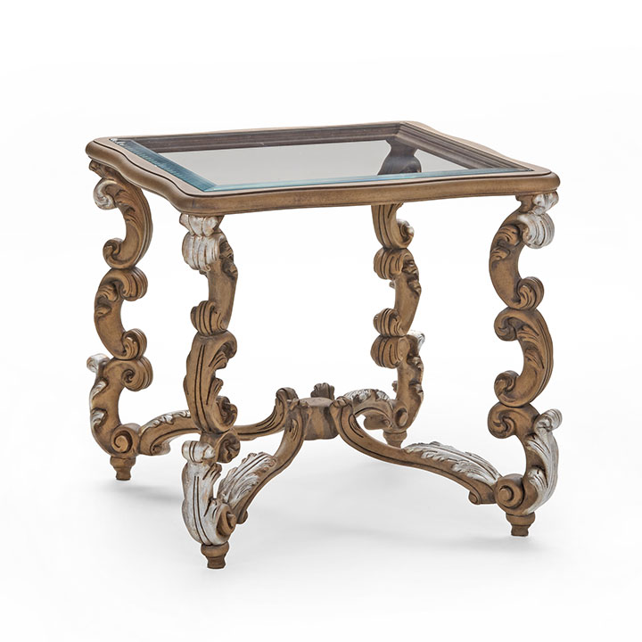 70 baroque style square wood table firenze