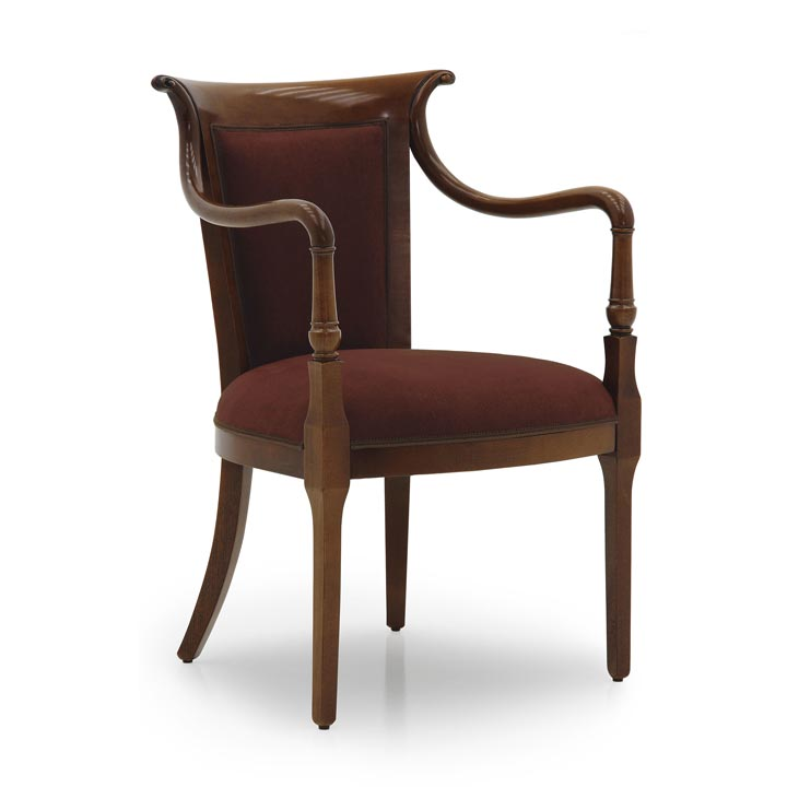 Elegant classic style armchair with simple beech wood structure; fully upholstered in golden cotton velvet with floral pattern. Walnut polished finish.