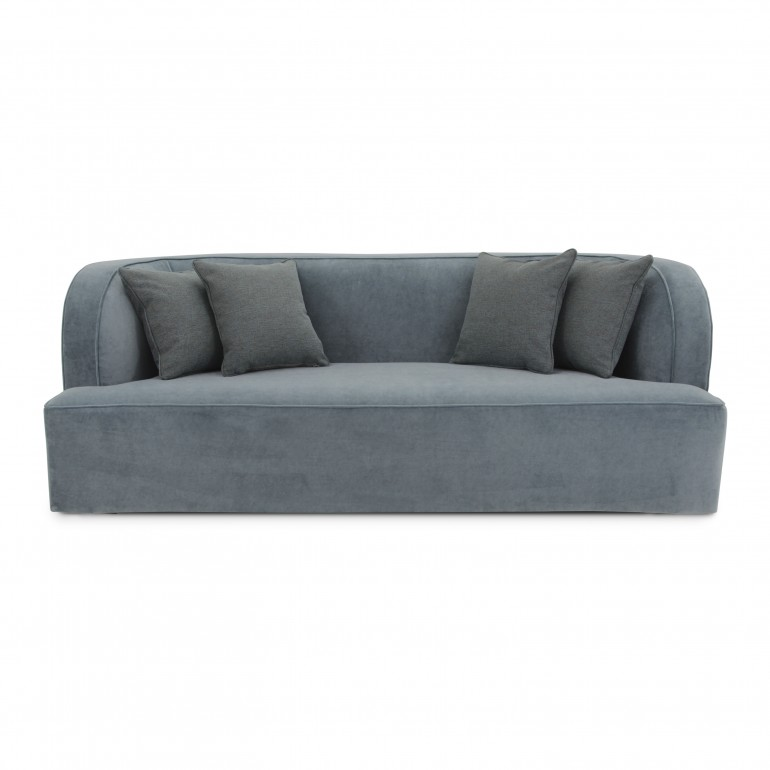 Modern Italian sofa, 4 seater, fully upholstered in light blue velvet with 4 scattered cushions