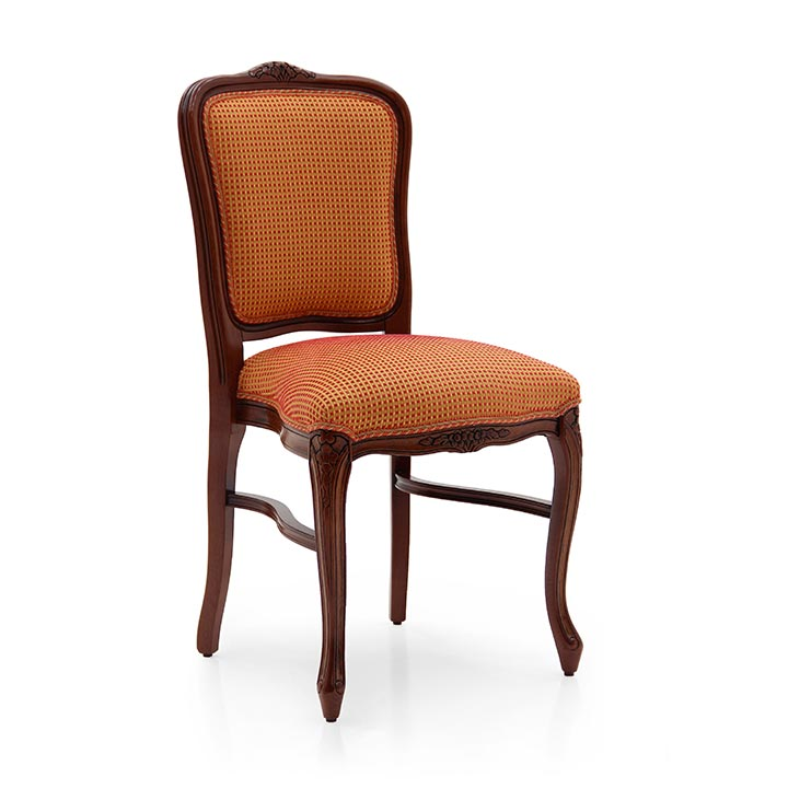 Comfortable classic style chair with beech wood structure; upholstered in classic fabric. This chair is stackable and therefore ideal for the contract market. Standard walnut finish.