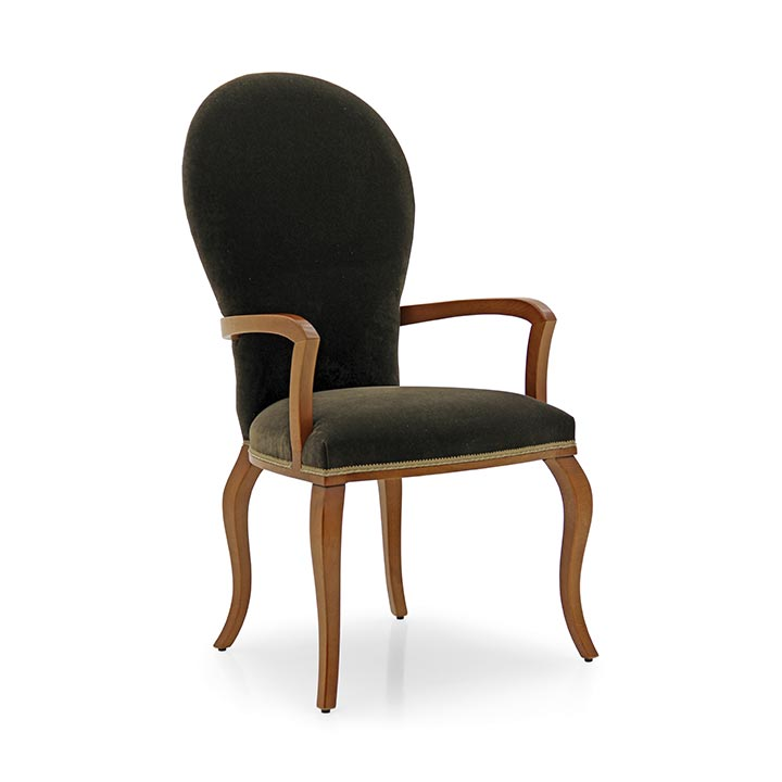 Small modern style armchair with elegant and refined beech wood structure; back fully upholstered in fine natural cotton velvet. Satin black lacquer finish.