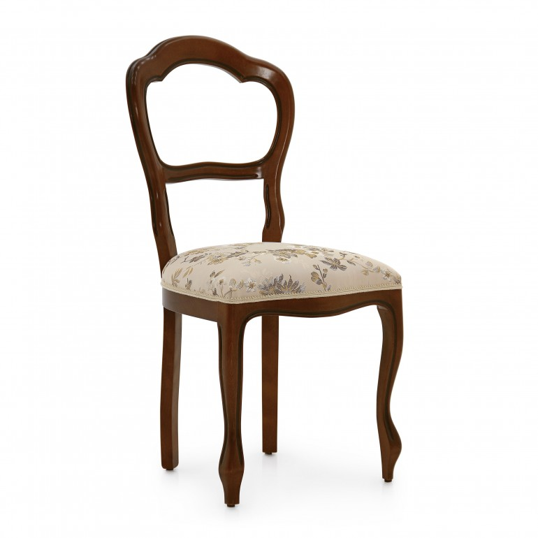 Louis style chair Trearchi by Sevensedie - solid beech wood frame - elegant open back - lacquered in a tipical walnut finish - upholstered in a silk effect floral fabric