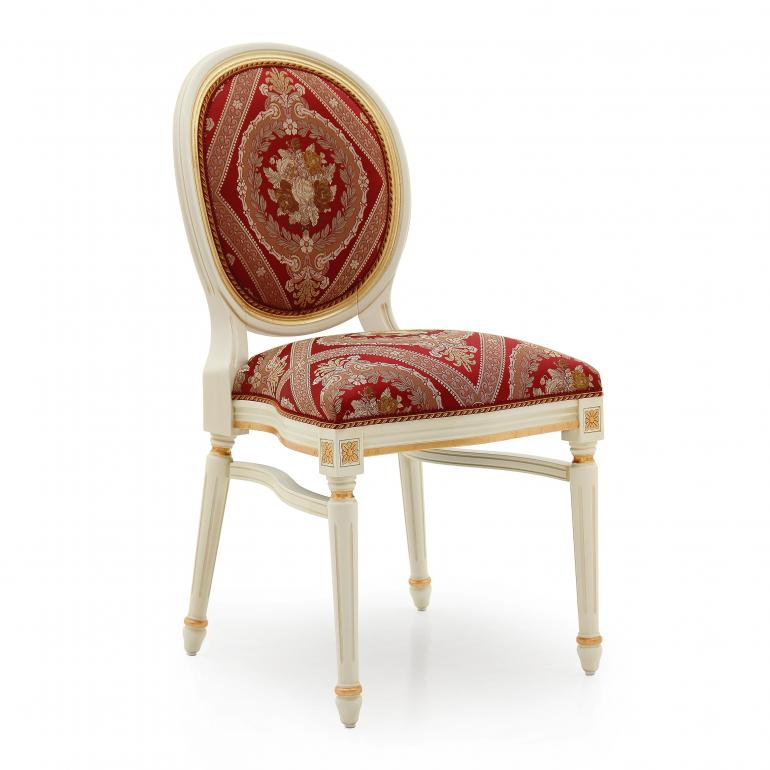 Louis XVI style replica chair Luigi by Sevensedie - beech wood frame - Upholstery in an opulent red pattern fabric - lacquered in cream with gold leaf profiles.