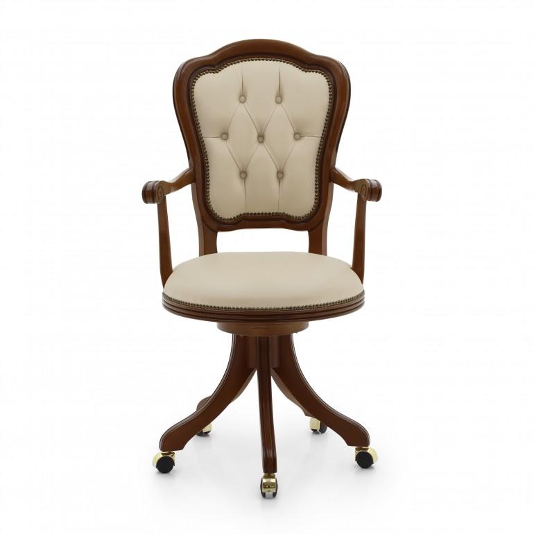 classic style wooden swivel desk armchair