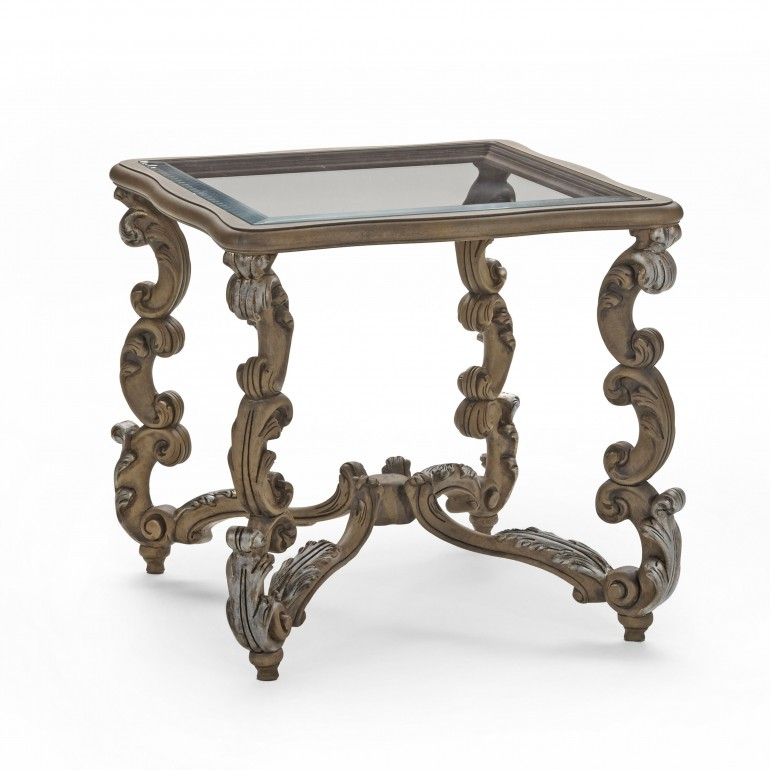 9795 baroque style square wood table firenze