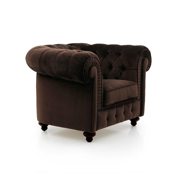 chesterfield style wooden armchair