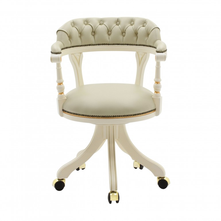 classic style small wooden swivel desk armchair