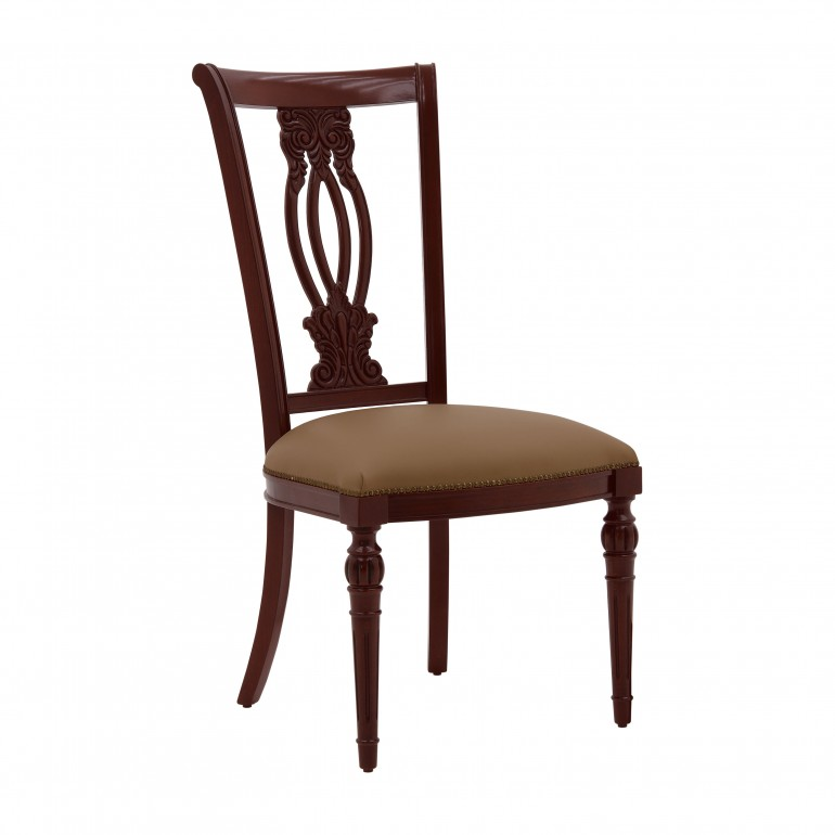 Classic italian chair Auge by Sevensedie - solid beech wood frame - polished in dark mahogany finish - upholstered in real leather