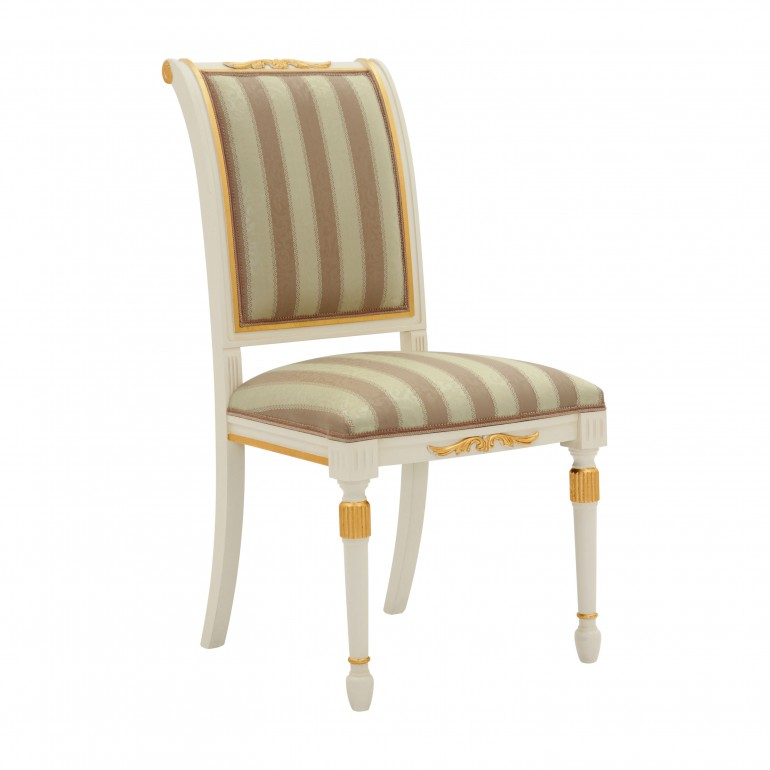 Replica chair in empire style  Salgari by Sevensedie in classic design - beech wood frame - Upholstered in stripe gold and salmon fabric.