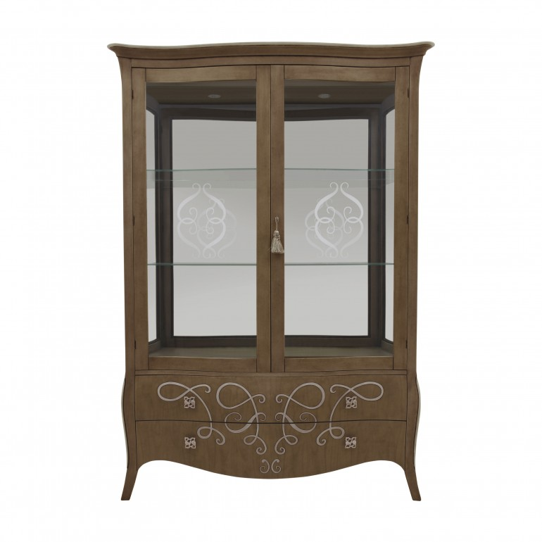 classic style wooden glass cupboard