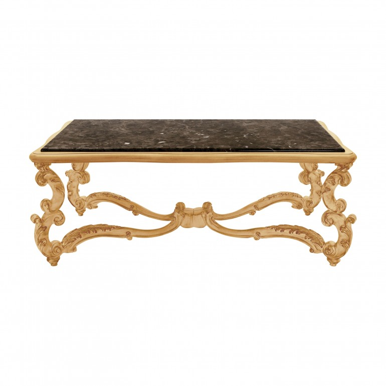baroque style rectangular wooden coffee table