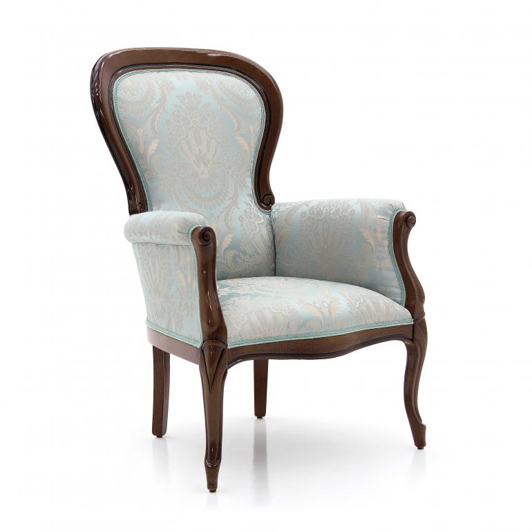 Louis Philippe style armchair with simple beech wood structure; upholstered in elegant floral pattern natural cotton fabric. Walnut polished finish.