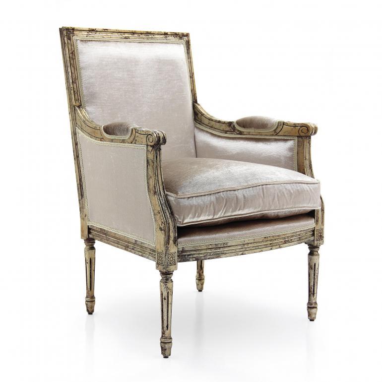 louis xvi style wooden armchair