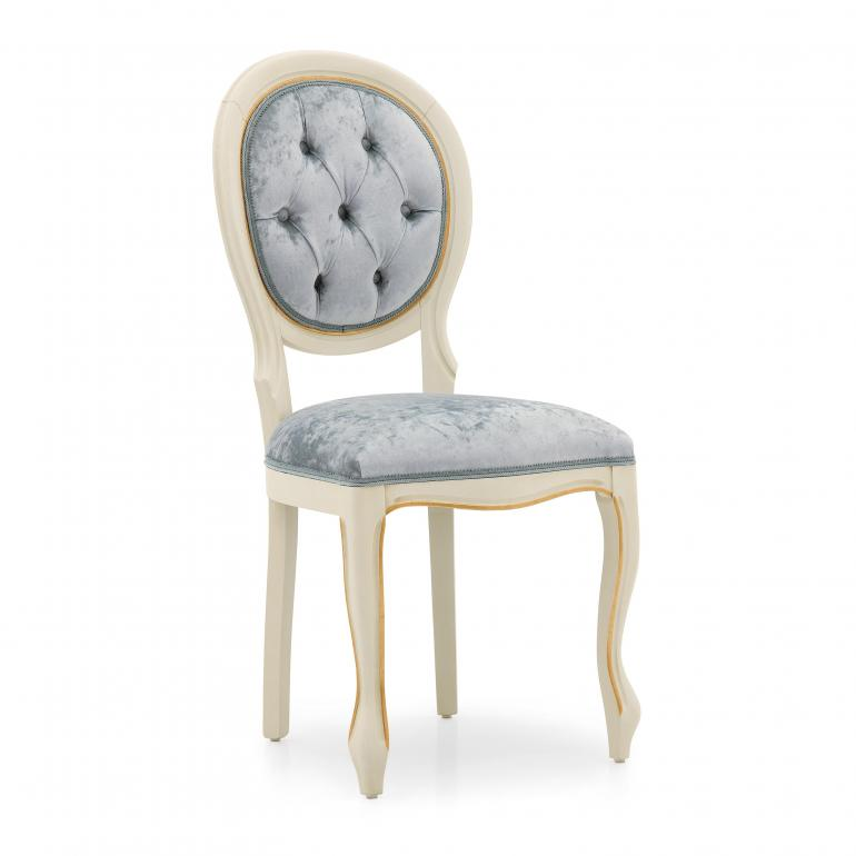 Classic replica Louis style chair Liberty by Sevensedie - beech wood frame - lacquered in white with gold leaf profiles -  upholstered in a soft light blue velvet