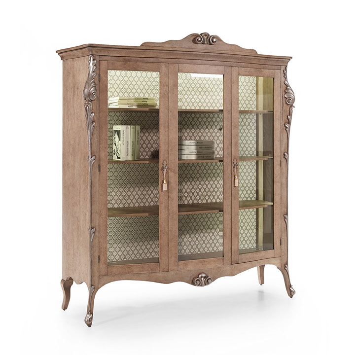 classic style wood glass cupboard aura 4993