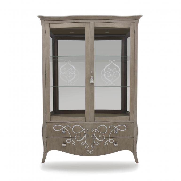 classic style wood glasscupboard butterfly 23 1648