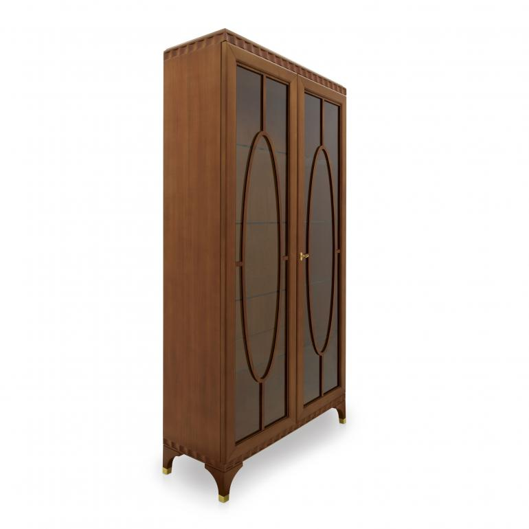 Italian 2 door display cabinet in cherry finish, with gold plated metal inserts, contemporary design