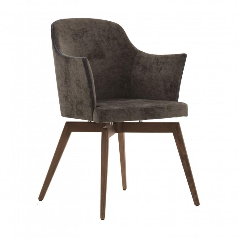 comfortable italian wood brown armchair marta 8853