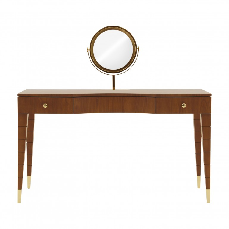 Contemporary cherry wood dressing table - Italian dressing table with revolving round gold plated mirror in cherry finish with gold plated metal tip legs
