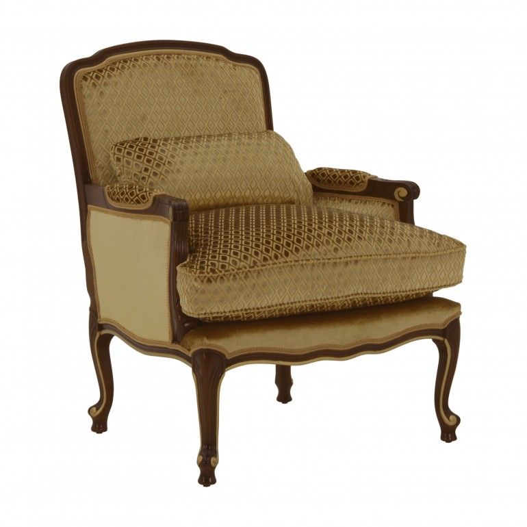 padded wooden armchair