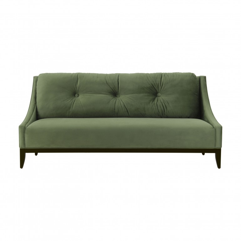 Contempoary Italian love seat in green velvet, 2 seater sofa with large back rest cushion