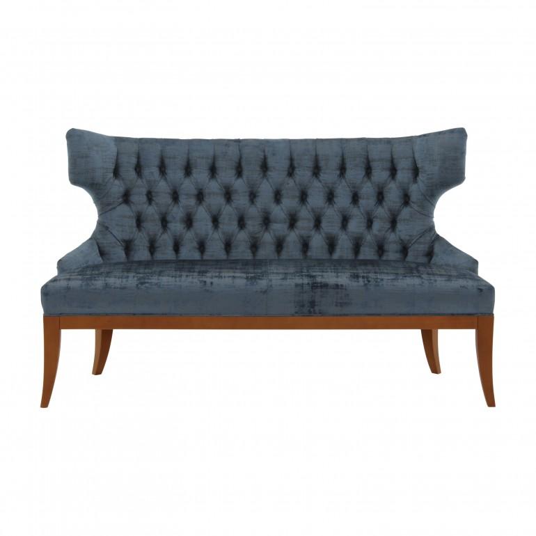 Italian 2 seater sofa, tufted back Love seat upholstered in crushed blue velvet