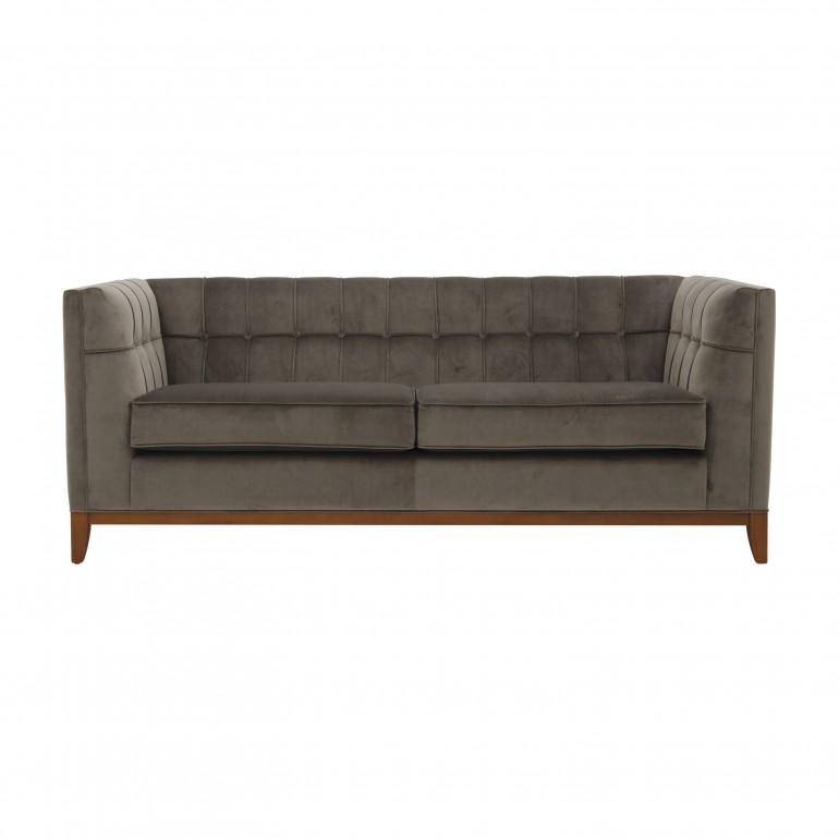 Contemporary Italian sofa - 3 seater sofa in green velvet - Sofa with 2 seat cushions