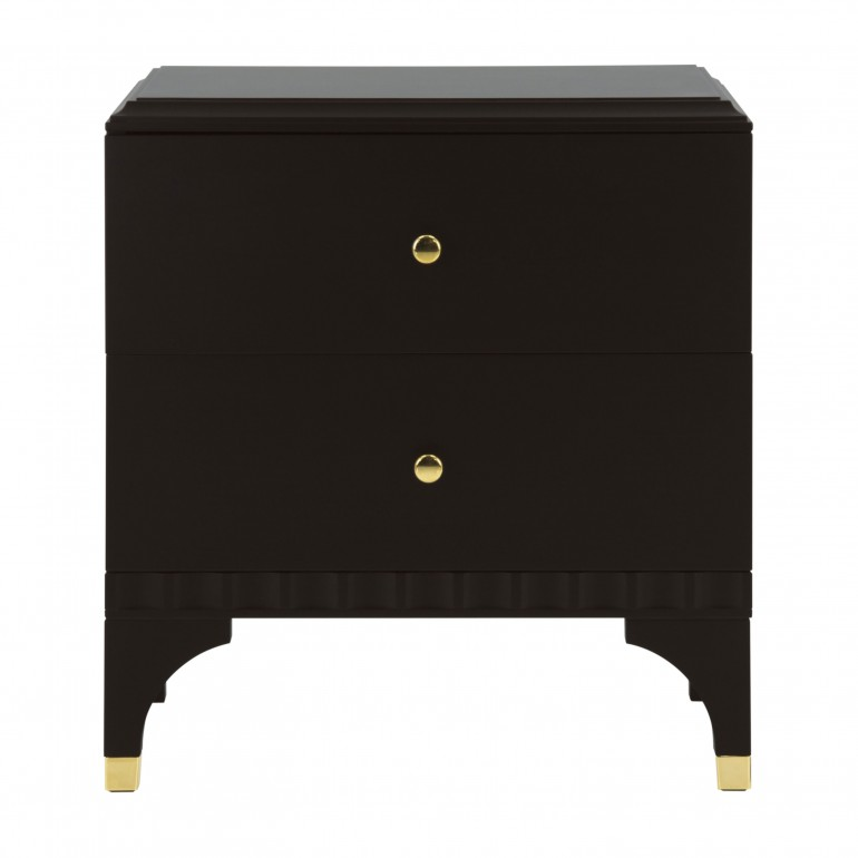 Italian bedside cabinet in contemporary design with 2 drawers in dark moka finish with gold plated metal inserts
