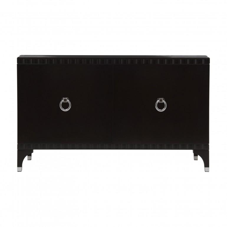 Italian 2 doors sideboard - Contemporary sideboard in dark mahogany finish - 2 door sideboard with chromed metal handles