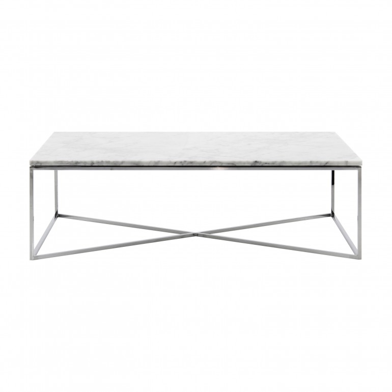 Rectangular marble top coffee table, chromed metal structure - Carrara white marble top, Italian contemporary coffee table